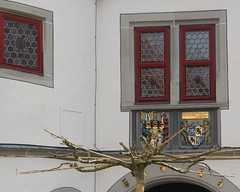 Townhall with tree (Linda6769) Tags: woman man germany nude town coatofarms thuringia townhall stainedglasswindow baretree adamandeve basrelief hildburghausen