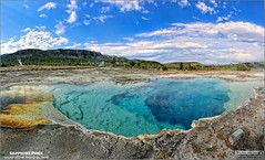 Sapphire Pool in Yellowstone National Park (USA) (Tom Wildoner) Tags: tomwildoner yellowstonenationalpark ynp 2014 nature environment outdoors wyoming wy sapphire pool water blue sky trees hot springs canon canon6d teamcanon clouds minerals photostitch