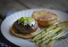 Serrano Pepper & Goat Cheese Burgers - Blue Apron (r.e. ~) Tags: serranopeppergoatcheeseburgersblueapron burgers food hamburger blue apron b blueapron deliveryservice freshingredients