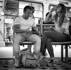 No Peanut Allergy (Just Ard) Tags: woman man bench eating peanuts people person face street photography candid unposed black white mono monochrome bw blackandwhite noiretblanc biancoenero schwarzundweis zwartwit blancoynegro  justard nikon d750 50mm