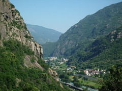 Panorama of the valley from the fortress of Bard (SoniaM (Italian teacher)) Tags: italia italy valledaosta valdaosta montagna montagne mountain mountains village medieval villages paese paesi edifici bard panorama view nature natura landscape paesaggio