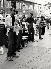 Channelling the Tower of Power sound (williamw60640) Tags: busker streetphotography streetmusicians band music guitar saxaphone bass trumpet chicago statest madisonst drums architecturaldetails citystreet streetlightpoles streetscenes urbanlife urban cool sunglasses hat man pedestrians