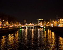 Night Liffey (Peter E. Lee) Tags: night spring milleniumbridge riverliffey bridge ireland river water dublin republicofireland roi 2016 ire eire light ie