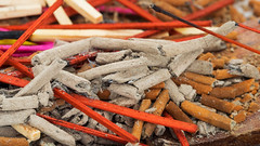 Nag Champa Funeral Pyre (fstop186) Tags: nagchampa overdose ashes meditation wellbeing mindfulness peace tranquility reflective olympus omd em1 olympusmzuiko60mmf28macro macro surreal abstract red yellow magenta lines curves shadows diagonals contrast fire wood sticks fibres delicate random incense funeral pyre
