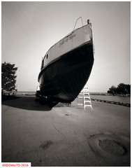The Just in time (DelioTO) Tags: 4x5 adoxchs100 architecture autaut blackwhite canada city d23 f250 lake marine ontario pinhole september summer