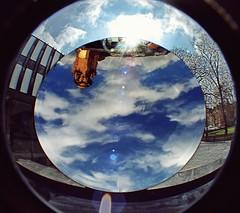 2010-04-14ab Sky Mirror ([Ananabanana]) Tags: nottingham nottinghamshire notts kapoor sky mirror playhouse sculpture art reflection anish anishkapoor skymirror midlands hdr nikon d40 gimp photoscape nikon1855mmkitlens 1855mm nikon1855mm 1855 nikonafsdx1855mm nikkor nikkor1855mm sunlight nikonista nikonistas outdoor cloud serene fisheye converter optekafisheyeconverter opteka035xfisheyeconverter optekafisheye opteka