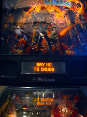 say no to drugs (Ian Muttoo) Tags: dsc69111edit toronto ontario canada gimp ufraw batch creemore medievalmadness pinball williams reflection reflections 1997 saynotodrugs