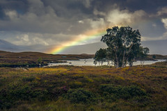 Loch Ba Rainbow (Osgoldcross Photography) Tags: loch water lochba scotland ecosse alba grass moorland mountains hills fells nikon nikond810 raw holiday nature sky cloudy rainbow colourful potofgold fisherman playing people reflection summer