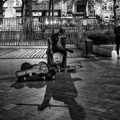 _DSF2962-Edit (richwself) Tags: autumn blackwhite busking cityofwestminster fujifilmxpro2 fujinonxf35mmf2rwr leicestersquare london streetphotography uk night people england unitedkingdom