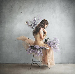 Laura (Michelle.A.M.) Tags: whimsical serene mysterious bracelet woman girl movement hair skirt sheer flowers leaf leaves nature natural painterly conceptual still studio purple orange