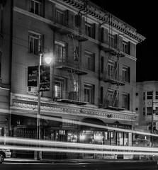891 post street (pbo31) Tags: sanfrancisco california night nikon d810 september 2016 summer boury pbo31 dark black blackandwhite city urban lightstream motion traffic roadway tenderloin poststreet 891