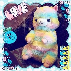 My new Rainbow Alpacasso backpack! <3 (SpicaNio) Tags: alpacasso stuffedtoy plushie amuse amusejapan rainbow rainbowalpacasso