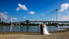 It's a nice day to start again (OR_U) Tags: 2016 oru france germany strasbourg kehl passerelledesdeuxrives bridge river riverrhine lejardindesdeuxrives le longexposure pair wedding billyidol whitewedding groom bride fotoshoot summer summerday sunnyday 169 widescreen