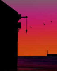 Dark water. (yamstar1) Tags: water warehouse lamp sky