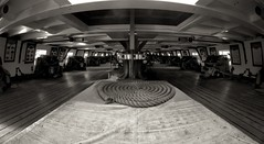 Gun Deck (Tom Haymes) Tags: blackandwhite maryland rope baltimore fisheye cannon guns tallship sailingship ussconstellation baltimoremaryland gundeck nineteenthcenturyship