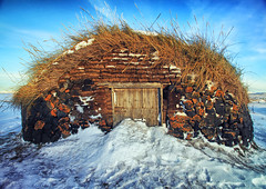 Icelandic Barn (` Toshio ') Tags: blue winter sky snow cold ice grass rock barn iceland europe european icelandic toshio lakemyvatn northiceland