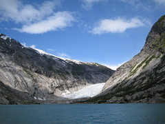 Norwegian scape (VERUSHKA4) Tags: travel blue sea summer sky cloud white mountain snow cold ice nature water beauty norway stone canon waterfall day august glacier norwegian delight shore fjord scandinavia seashore scandinavian verdure northcountry briksdile