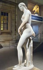 Hiram Powers (1805-1873) - California (1850-1858) left, night, Metropolitan Museum of Art, New York, Sep 2012 (ketrin1407) Tags: sculpture statue female naked nude erotic marble allegory metropolitanmuseum symbolism sensuous hirampowers 19thcenturysculpture