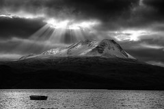 Baosbheinn - Loch bad an Sgalaig (Michael~Ashley (off for a while)) Tags: loch baosbheinn bad an sgalaig scotland scottish highlands maree photoshop mountans god rays boat light clouds snow nikon d7000