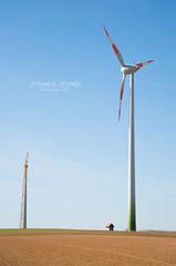 Windmill & Windmill jr. (Part II) (Mi Ko) Tags: blue sky sun green mill windmill sunshine energy colorful wind renewable