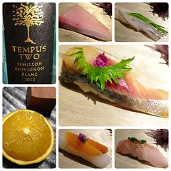 First 2013 Visit to Noboru Sushi, Part 2 (Danburg Murmur) Tags: orange fish flower glass fruit sushi dessert bottle wine mosaic label sashimi taiwan squid taipei citrus  greenonions  scallions winebottle  perilla    sauvignonblanc taipeirestaurants                noborusushi  tempustwosemillonsauvignonblanc