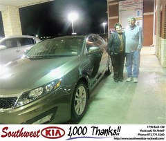 CONGRATULATIONS TO RICHARD HUIE ON THE 2013 KIA OPTIMA (Southwest Kia Rockwall) Tags: birthday new southwest happy dallas texas anniversary richard kia rockwall dealership dealer shout customers optima outs huie 2013 164872 httpavximagesdeliverymaxxcomtyee164872jpg