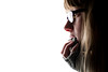 (evilibby) Tags: eye girl face mouth hair glasses eyes hand teeth fingers profile fringe lips human blonde libby jumper 365 knitted bangs mybedroom hemma 3655 365days 365days5
