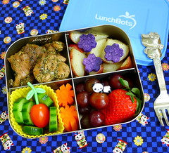 Herb Chicken and Potatoes LunchBots Quad Bento (sherimiya ♥) Tags: school chicken tomato lunch kid potatoes healthy strawberry herbs cucumber sheri quad delicious homemade grapes carrot bento pickled obento herbesdeprovence okinawansweetpotato sherimiya lunchbot