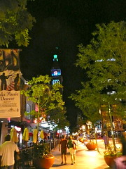 Downtown Denver on a Summer's night (Scorpions and Centaurs) Tags: city summer night lights colorado downtown darkness denver illuminated 16thstreetmall dfclocktower denversfirstskyscraper