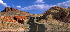 Valley of Fire State Park,NV (memories_by_mike) Tags: statepark road sky mountain valleyoffire clouds landscape desert pavement nevada curvyroad nikond600 ononesoftware
