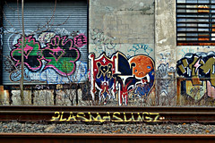 OZE108 x Plasma Slugs (Now It's Real!) Tags: new york city nyc ny graffiti plasmaslugs graf tracks queens graff oze qu trackside oze108 fillin plasmaslug