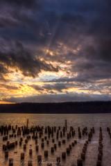 God beams over Yonkers (sjaccino) Tags: sunset sky ny newyork water clouds pier hudsonriver yonkers godbeams