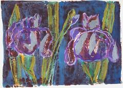 night-garden (Benedicte Delachanal) Tags: collage night garden print chigirie styrocut
