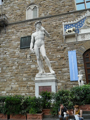 Michelangelo's David in Piazza della Signoria in Florence, Italy (Laura713) Tags: italy david statue florence replica tuscany firenze marble michelangelo nudemale piazzadellasignoria 2011 florenta