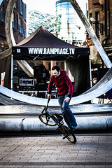 Ramprage (ColinParte) Tags: street people sun bmx streetphotography sunny belfast tricks cornmarket wheelies ramprage