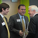 From left, Student Body President Andy Walsh and alumnus Brooks Raiford speak with former N.C. Gov. Jim Hunt.