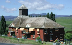 Hop Kiln or Oast House in the Derwent Valley (spelio) Tags: 2005 old trip travel building tour map good timber oct australia tasmania hobart approx tasi