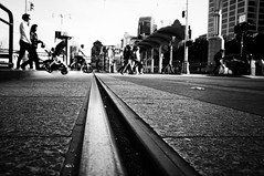 On The Line (Nick Lambert!) Tags: sanfrancisco street blackandwhite bw fuji streetscape tramtracks ontheline nicklambert fujix100 fujinonasphericallens