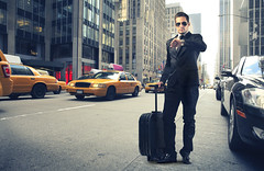 businessman (laikamero) Tags: road street new york city trip travel usa white man building car sunglasses speed america skyscraper work way bag drive see office delay traffic adult walk trolley taxi watch young fast tie run business tired late crosswalk suitcase stress success briefcase later career caucasian