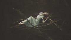 Unspoken Weakness (Shelby Robinson) Tags: blue red portrait tree broken girl self canon hair rebel death 50mm pain quiet shadows dress darkness heart head 14 soul passing limb numb teenage unspoken t1i