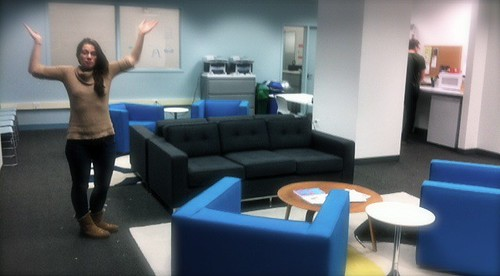 Here's the graduate lounge before we got to work on it...