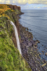 Kilt Rock Waterfall - Isle of Skye, Scotland (Mister Joe) Tags: uk sea sky nature water rock landscape bay scotland daylight waterfall nikon colorful kilt isleofskye unitedkingdom britain famous smooth scenic scottish joe drop tourist cliffs highland edge greenery loch dynamicrange northeast portree hdr steep basalt sheer pleats kiltrock staffin lekas trotternishpeninsula
