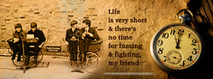 Life is very short | The Beatles (Tamer Youssef) Tags: life never art sepia vintage that one design is back fight all graphic very you no banner egypt cairo arab short land beatles facebook  the  youssef khalil tamer  2013    jobran
