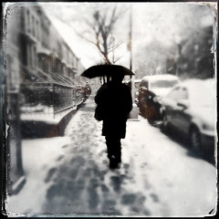 Saturn (ShelSerkin) Tags: city nyc newyorkcity portrait blackandwhite bw snow newyork brooklyn square candid snowstorm streetphotography squareformat gothamist saturn iphone mobilephotography iphoneography hipstamatic stormsaturn