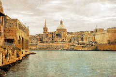 Valletta (albireo2006) Tags: sea wallpaper texture water harbor mediterranean harbour background malta dome fortifications valletta lazaretto lazzaretto manoelisland marsamxett