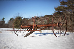 Old Hay Rake (Eric Gendron Photography) Tags: old blue winter sky snow art abandoned canon lens 50mm prime rust scenery farm maine scenic newengland scene equipment hay roadside route1 hayrake bailer 5dmarkii