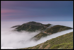Shrouded [Explored] (Aaron M Photo) Tags: sanfrancisco california road city bridge sky nature colors beautiful car fog architecture sunrise landscape lights golden nikon hawk marin hill towers landmark historic ridge deck goldengatebridge goldengate headlands epic marinheadlands shrouded slacker ggb hawkhill lowfog conzelman shrowded conzelmanroad slackerhill slackerridge nikond800 aaronmeyersphotography