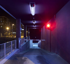 Virtudes (laororo) Tags: night neon nightshot parking bcn stop