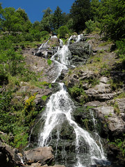 Waterfall of Todtnau (Batikart) Tags: travel flowers blue trees summer sky plants mountains reflection green nature water leaves rural forest canon germany landscape geotagged outdoors deutschland waterfall leaf stem flo