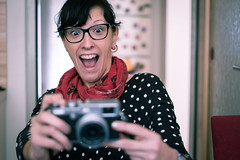 Yeha! (mgratzer) Tags: girl photography fuji photographer surprise surprised fujifilm x100 splittoning